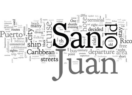 Old San Juan typography text art vector illustration