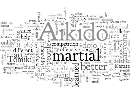 Aikido, typography text art vector illustration