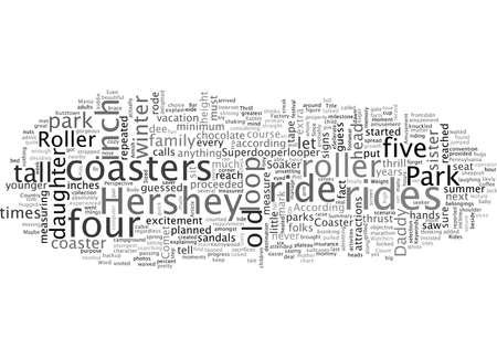 Amusement Park Roller Coaster Thrill Rides, typography text art vector illustration