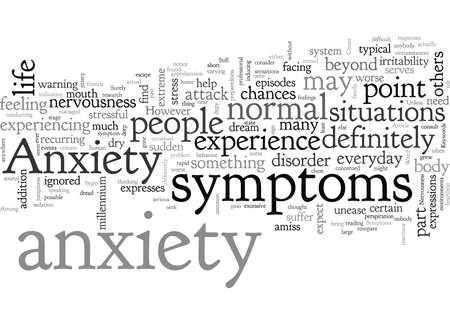 Anxiety Symptoms, typography text art vector illustration