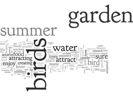 A Summer Garden for the Birds, typography text art vector illustration Illustration