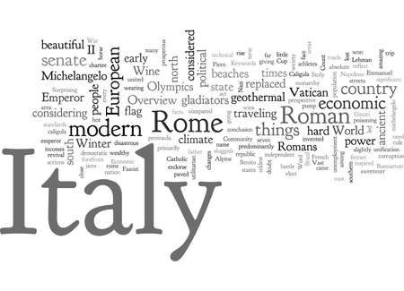 An Overview of Italy for Travelers, typography text art vector illustration Ilustracja