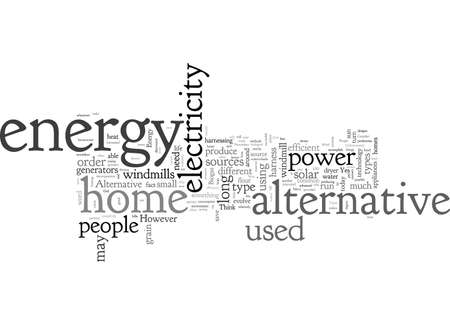 alternative home energy, typography text art vector illustration Иллюстрация