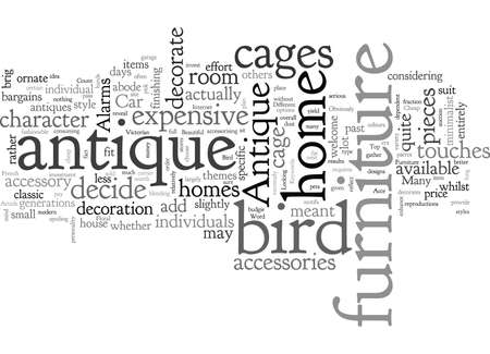 Antique Bird Cages And Furniture, typography text art vector illustration Иллюстрация
