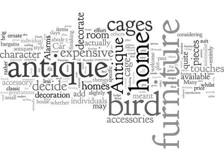 Cages à oiseaux antiques et meubles, illustration vectorielle de typographie texte art Vecteurs