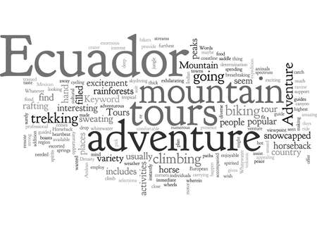 adventure tours in ecuador, typography text art vector illustration Illusztráció