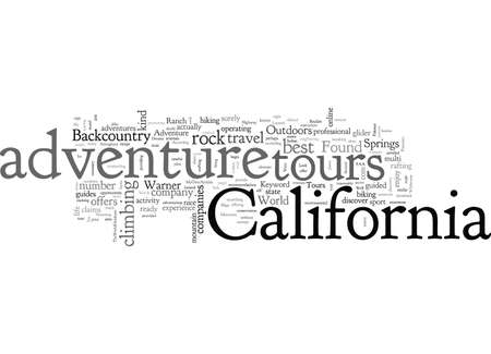 Adventure Tours in California, typography text art vector illustration
