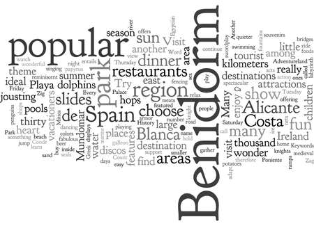 Visit To Benidorm Spain, typography text art vector illustration Illusztráció