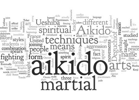 aikido, typography text art vector illustration