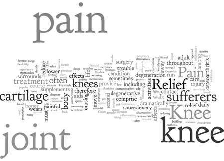Knee Pain Relief, typography text art vector illustration