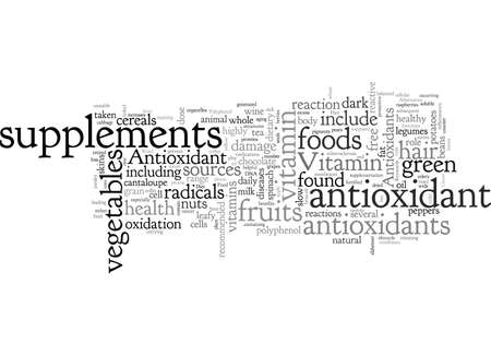 Antioxidant Food Supplements, typography text art vector illustration Illustration