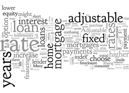 Adjustable Rate Mortgages, typography text art vector illustration