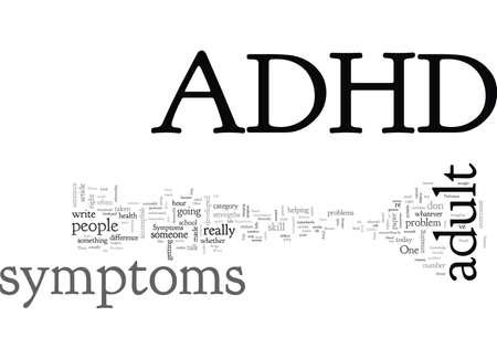 Adult ADHD Symptoms, typography text art vector illustration