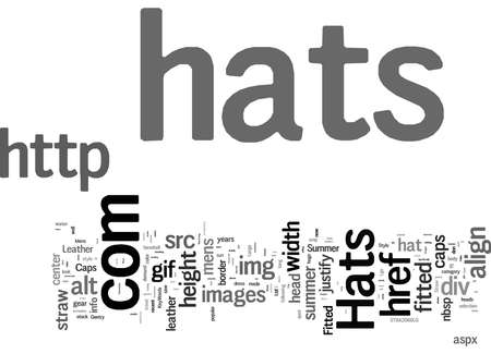 Word Cloud Summary of Hats Mens Hats Straw Hats Caps Fitted Hats Summer Hats Leather Caps Article Banco de Imagens