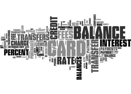 Word Cloud Summary of Guide to Balance Transfers Article Banco de Imagens