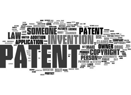Word Cloud Summary of Patent and copyright law Article Archivio Fotografico