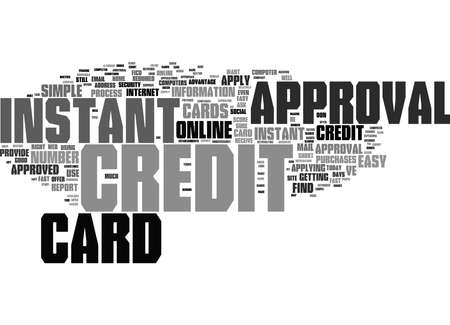 Word Cloud Summary of Instant Credit Card Approval Fast and Easy Article Banco de Imagens