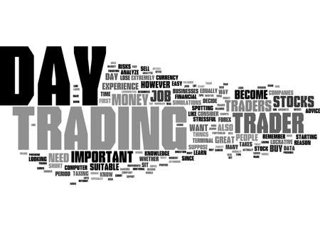 Word Cloud Summary of How To Become A Day Trader Article Stockfoto
