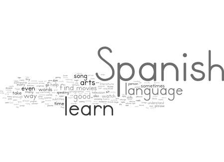 Word Cloud Summary of How You Can Learn Spanish Better Through the Arts Article Stock fotó