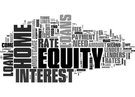 Word Cloud Summary of Is a Home Equity Loan Right For You Article Banque d'images