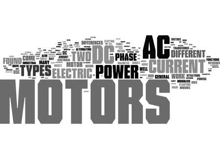 Word Cloud Summary of The Difference Between AC And DC Electric Motors Article