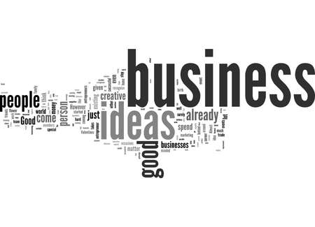 Word Cloud Summary of How To Come Up With Good Business Ideas Article Archivio Fotografico