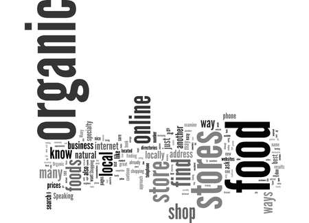 Word Cloud Summary of How to Find Organic Food Stores Article Banco de Imagens