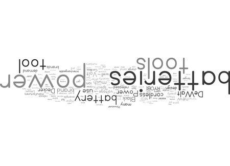 Word Cloud Summary of Power Tool Batteries Article Foto de archivo