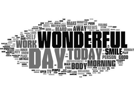 Word Cloud Summary of Today A Wonderful Day Article 免版税图像
