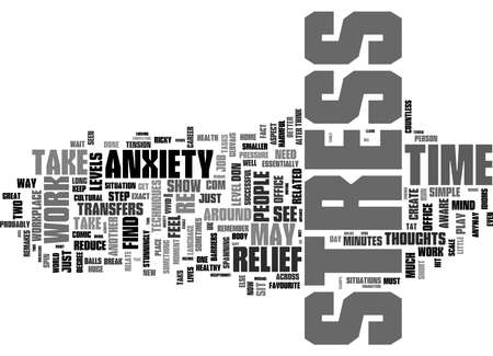 Word Cloud Summary of Simple Techniques To Initiate Stress And Anxiety Relief At Work Article 免版税图像