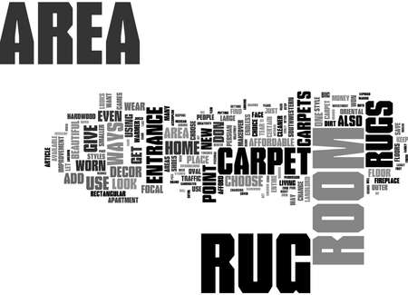 Word Cloud Summary of Ways To Use an Area Rug Article 免版税图像