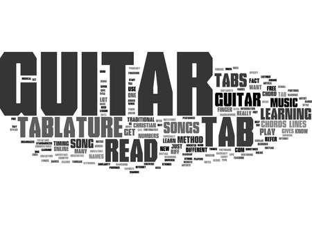 Word Cloud Summary of How to Read Guitar Tab Free Guitar Tablature Sites Article 免版税图像