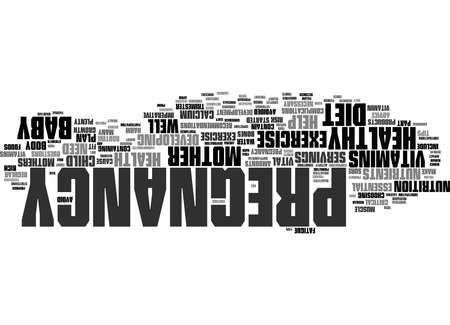 Word Cloud Summary of Pregnancy Exercise And Diet Tips Sensible Advice For Expectant Mothers Article 免版税图像