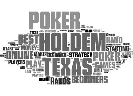 Word Cloud Summary of Online Texas Holdem Poker for Beginners Article Stock Photo