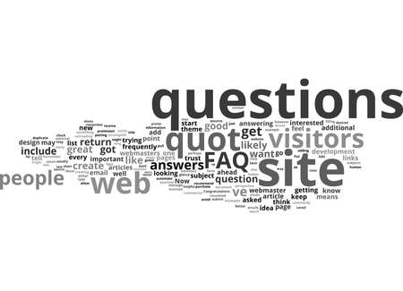 Word Cloud Summary of article Why You Want to Include an FAQ In Your Site Banque d'images