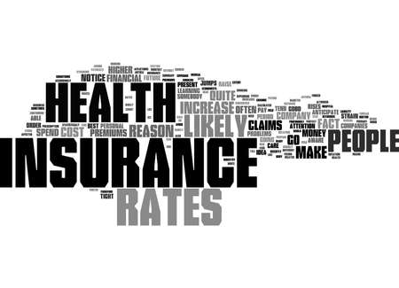 Word Cloud Summary of Why Do Health Insurance Rates Go Up Article Reklamní fotografie