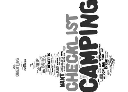 Word Cloud Summary of article The Benefits of Creating a Camping Checklist for Yourself Banque d'images