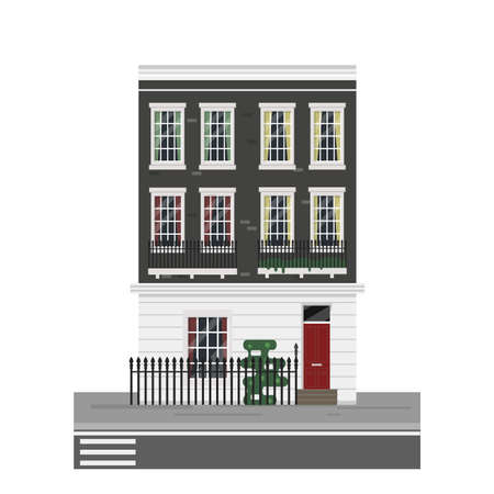 victorian house: Detailed isolated vector old town victorian style house. English town house