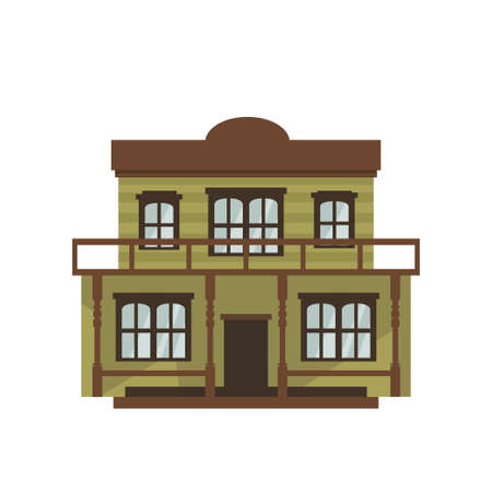 Western style isolated wild west buildings on white background