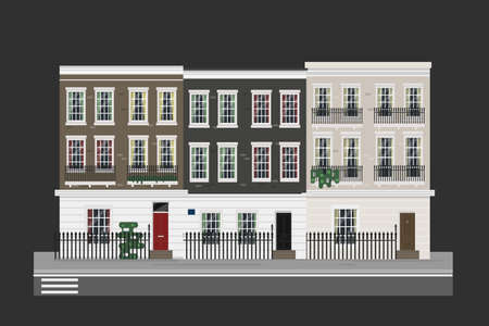 old english: Buildings set - english street with houses. Detailed isolated vector illustration