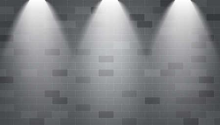 Background spotlight illuminated on a brick wall,Vector.