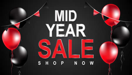Mid Year sale poster,Mid Year sale banner,Vector,Illustration. Vektoros illusztráció