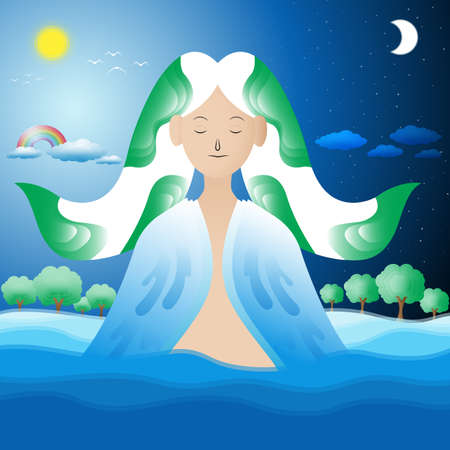 Background image in the concept of the god of nature,Vector,Illustration. Illusztráció