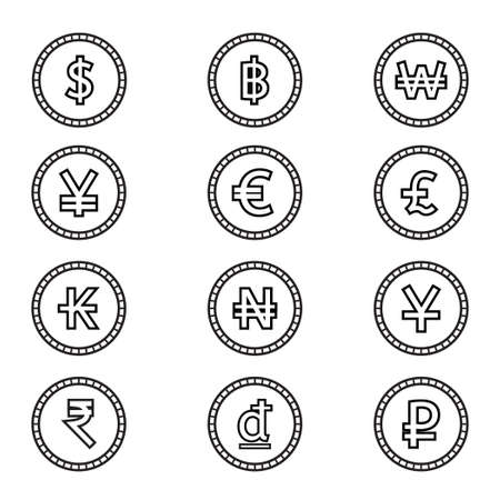 Coin of money,currency symbol icon set.