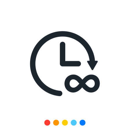 Clock icon and infinity symbol,Analog clock,Vector and Illustration.