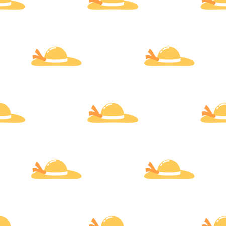Cartoon straw hat seamless pattern background,Vector and Illustration.
