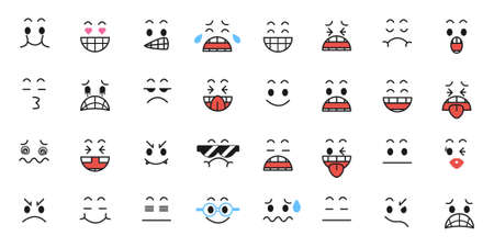 Set of Funny cartoon with Facial Expressions.