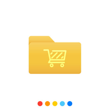 Flat folder design element with shopping cart symbol,Folder icon,Vector and Illustration.