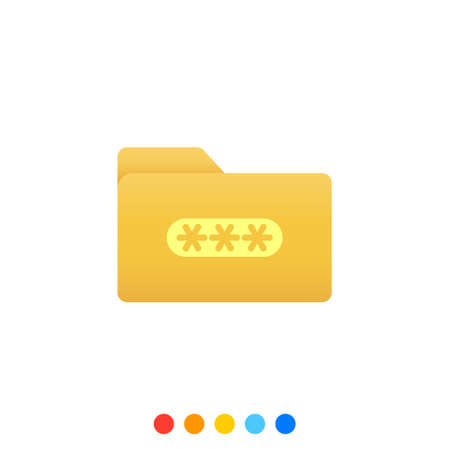 Flat folder design elements with password symbol,Folder icon,Vector and Illustration. Иллюстрация