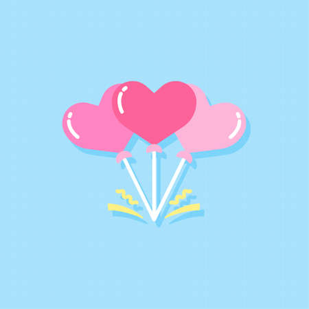 Heart shaped balloons flat design elements,Vector and Illustration.